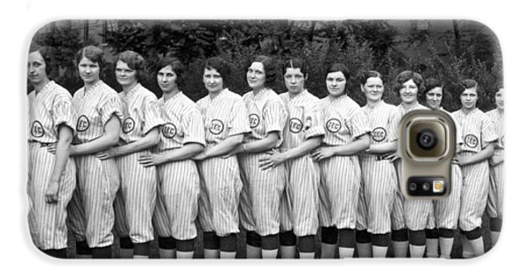 Vintage Photo Of Women's Baseball Team Galaxy S6 Case by American School