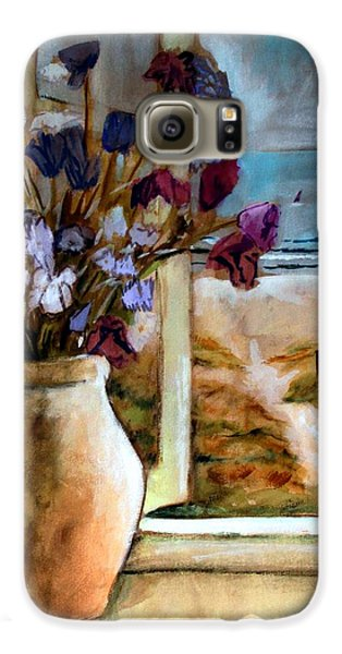 Violet Beach Flowers Galaxy S6 Case by Winsome Gunning