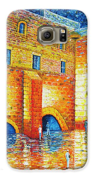 Galaxy S6 Case featuring the painting Wailing Wall Original Palette Knife Painting by Georgeta Blanaru