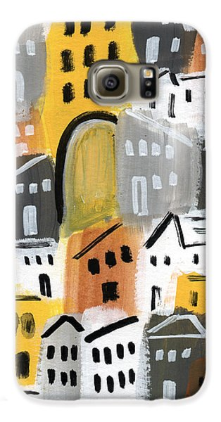 Town Galaxy S6 Case - Waiting For Autumn- Expressionist Art by Linda Woods