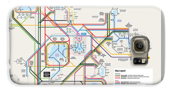 Walt Disney World Resort Transportation Map Galaxy S6 Case by Arthur De Wolf