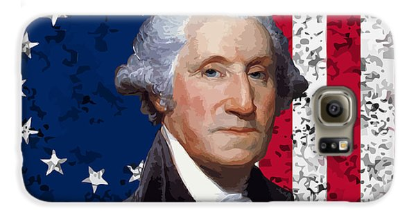 George Washington Galaxy S6 Case - Washington And The American Flag by War Is Hell Store