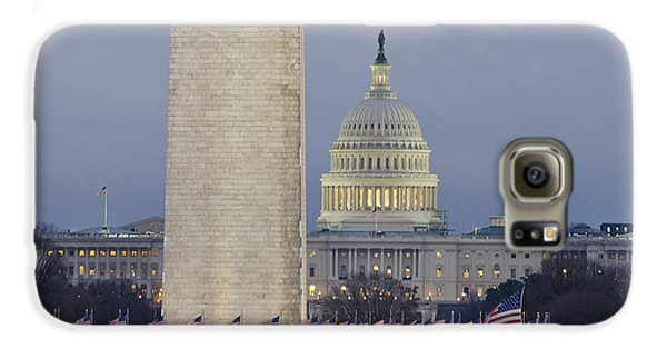 Washington Monument Galaxy S6 Case - Washington Monument And United States Capitol Buildings - Washington Dc by Brendan Reals