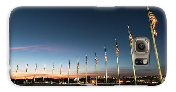 Lincoln Memorial Galaxy S6 Case - Washington Monument Flags by Larry Marshall