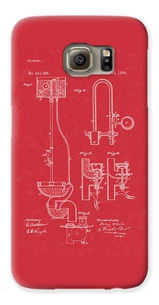 Water Closet Patent Art Red Galaxy S6 Case
