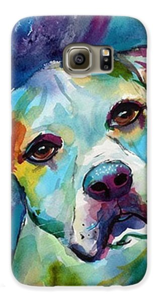 Colorful Galaxy S6 Case - Watercolor American Bulldog Painting By by Svetlana Novikova