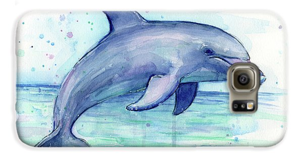 Watercolor Dolphin Painting - Facing Right Galaxy S6 Case