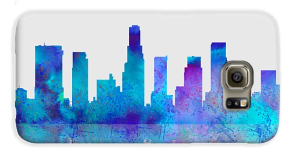 Galaxy S6 Case featuring the digital art Watercolor Los Angeles Skylines On An Old Paper by Georgeta Blanaru