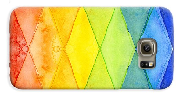 Watercolor Rainbow Pattern Geometric Shapes Triangles Galaxy S6 Case by Olga Shvartsur