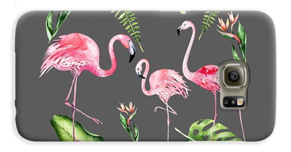 Galaxy S6 Case featuring the painting Watercolour Flamingo Family by Georgeta Blanaru