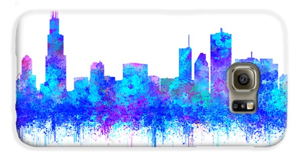 Galaxy S6 Case featuring the painting Watercolour Splashes And Dripping Effect Chicago Skyline by Georgeta Blanaru