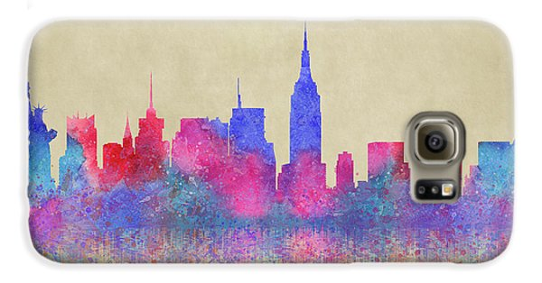 Galaxy S6 Case featuring the digital art Watercolour Splashes New York City Skylines by Georgeta Blanaru