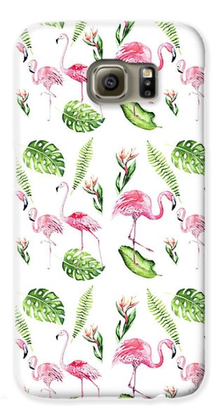 Galaxy S6 Case featuring the painting Watercolour Tropical Beauty Flamingo Family by Georgeta Blanaru