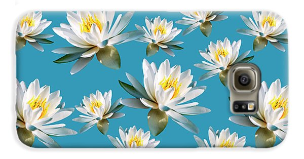 Galaxy S6 Case featuring the mixed media Waterlily Pattern by Christina Rollo
