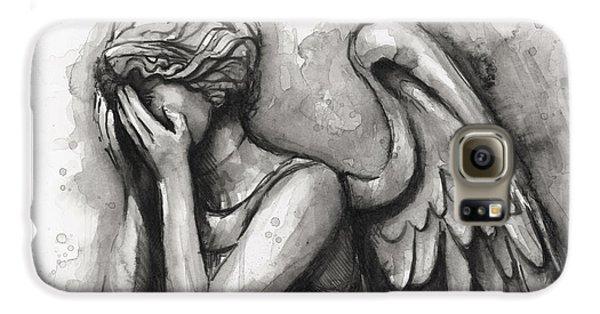 Doctor Galaxy S6 Case - Weeping Angel Watercolor by Olga Shvartsur