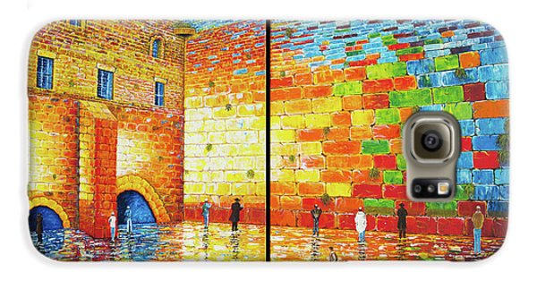 Galaxy S6 Case featuring the painting Western Wall Jerusalem Wailing Wall Acrylic Painting 2 Panels by Georgeta Blanaru