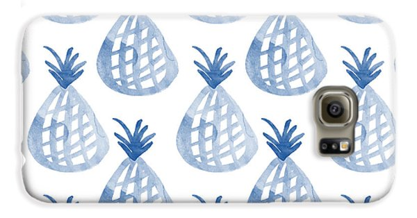 Gardens Galaxy S6 Case - White And Blue Pineapple Party by Linda Woods