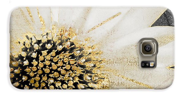 White And Gold Daisy Galaxy S6 Case by Mindy Sommers