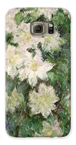 White Clematis Galaxy S6 Case by Claude Monet