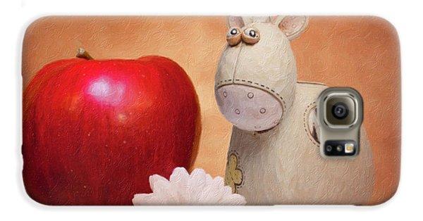 Daisy Galaxy S6 Case - White Horse With Apple by Tom Mc Nemar