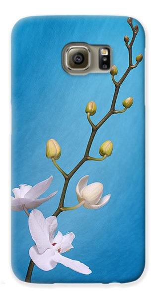 White Orchid Buds On Blue Galaxy S6 Case by Tom Mc Nemar