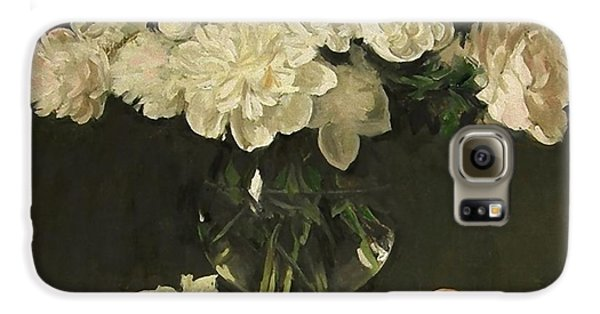 White Peonies In Giant Snifter With Peaches Galaxy S6 Case