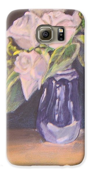 Galaxy S6 Case featuring the painting White Roses by Saundra Johnson
