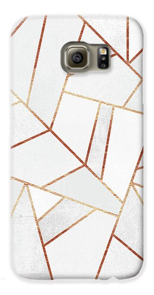 White Stone And Copper Lines Galaxy S6 Case by Elisabeth Fredriksson
