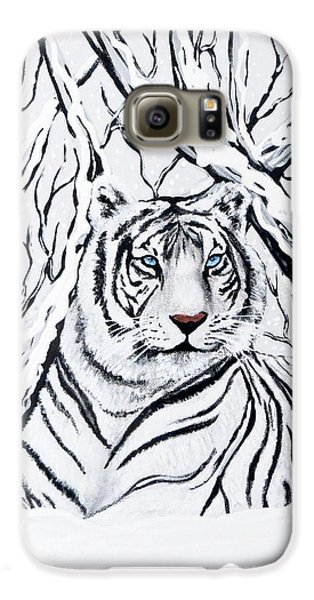 White Tiger Blending In Galaxy S6 Case by Teresa Wing
