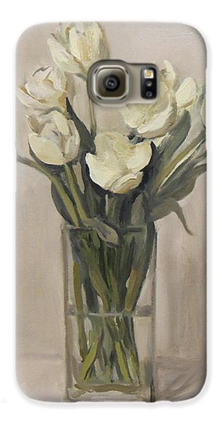 White Tulips In Rectangular Glass Vase Galaxy S6 Case