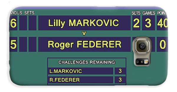 Venus Williams Galaxy S6 Case - Wimbledon Scoreboard - Lilly Markovic - 4-13 by Carlos Vieira