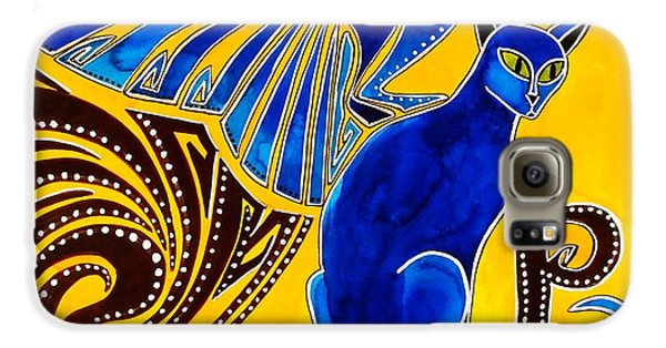 Galaxy S6 Case featuring the painting Winged Feline - Cat Art With Letter P By Dora Hathazi Mendes by Dora Hathazi Mendes