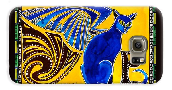 Winged Feline - Cat Art With Letter P By Dora Hathazi Mendes Galaxy S6 Case by Dora Hathazi Mendes