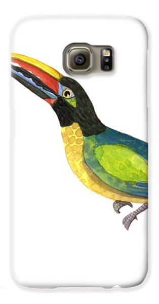 Toucan Galaxy S6 Case - Winged Jewels 2, Watercolor Toucan Rainforest Birds by Audrey Jeanne Roberts