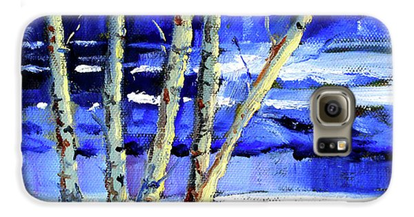 Galaxy S6 Case featuring the painting Winter By The River by Nancy Merkle