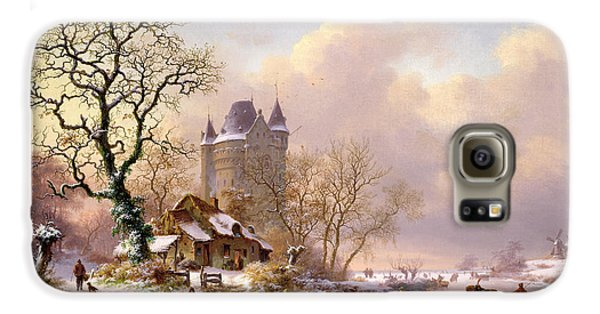 Winter Landscape With Castle Galaxy S6 Case by Frederick Marianus Kruseman