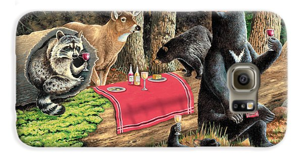 Raccoon Galaxy S6 Case - Woodland Wine Tasting by JQ Licensing