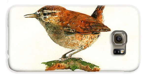 Wren Bird Art Painting Galaxy S6 Case by Juan  Bosco