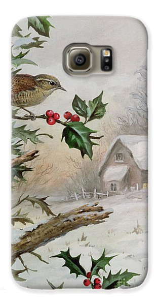 Wren In Hollybush By A Cottage Galaxy S6 Case by Carl Donner