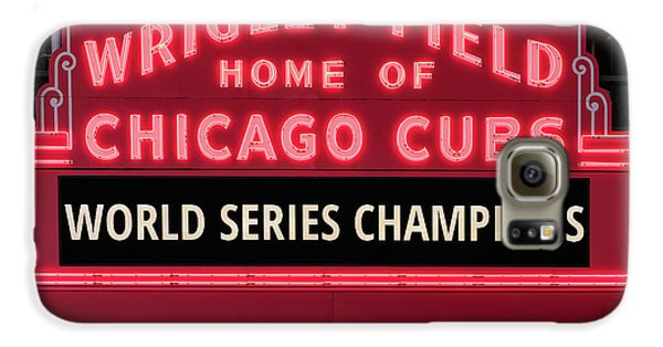Wrigley Field Galaxy S6 Case - Wrigley Field Marquee Cubs World Series Champs 2016 Front by Steve Gadomski