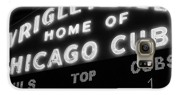 Wrigley Field Sign Black And White Picture Galaxy S6 Case by Paul Velgos