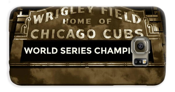 Wrigley Field Galaxy S6 Case - Wrigley Field Sign - Vintage by Stephen Stookey