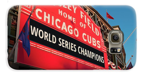 Wrigley Field Galaxy S6 Case - Wrigley Field World Series Marquee Angle by Steve Gadomski
