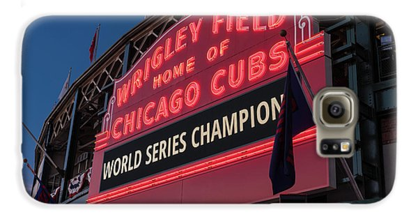 Wrigley Field Galaxy S6 Case - Wrigley Field World Series Marquee by Steve Gadomski