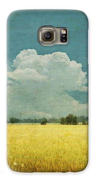 Abstract Galaxy S6 Case - Yellow Field On Old Grunge Paper by Setsiri Silapasuwanchai