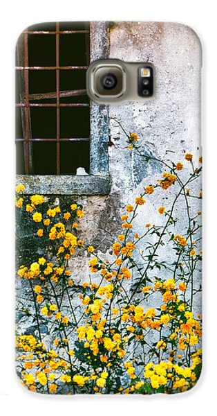 Galaxy S6 Case featuring the photograph Yellow Flowers And Window by Silvia Ganora