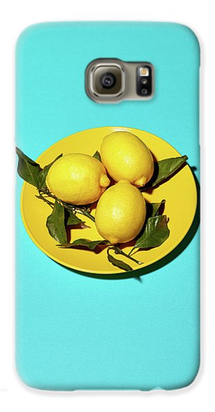 Yellow Lemons On Cyan Galaxy S6 Case by Oleg Cherneikin