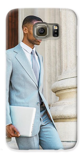 Young African American Businessman Working In New York Galaxy S6 Case