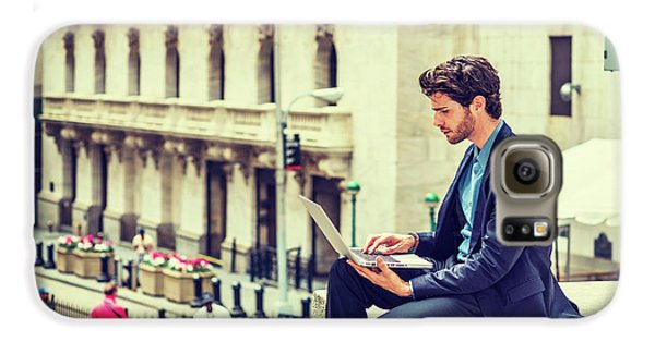 Young Businessman Working On Wall Street In New York Galaxy S6 Case