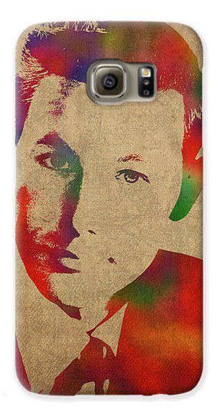 Young Johnny Carson Watercolor Portrait Galaxy S6 Case